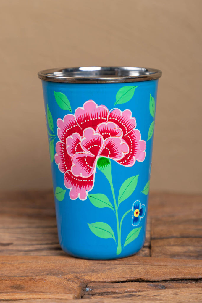 Hand Painted Smoke Blue Floral Stainless Steel Tumbler