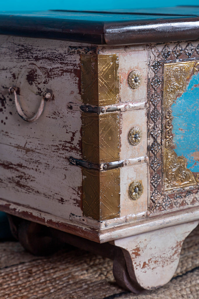 Reclaimed Wooden Trunk with Brass Trim - 105