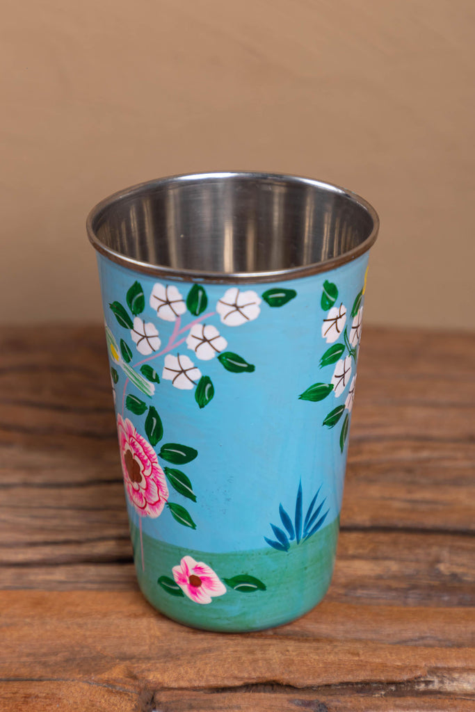 Hand Painted Sky Blue Floral Stainless Steel Tumbler