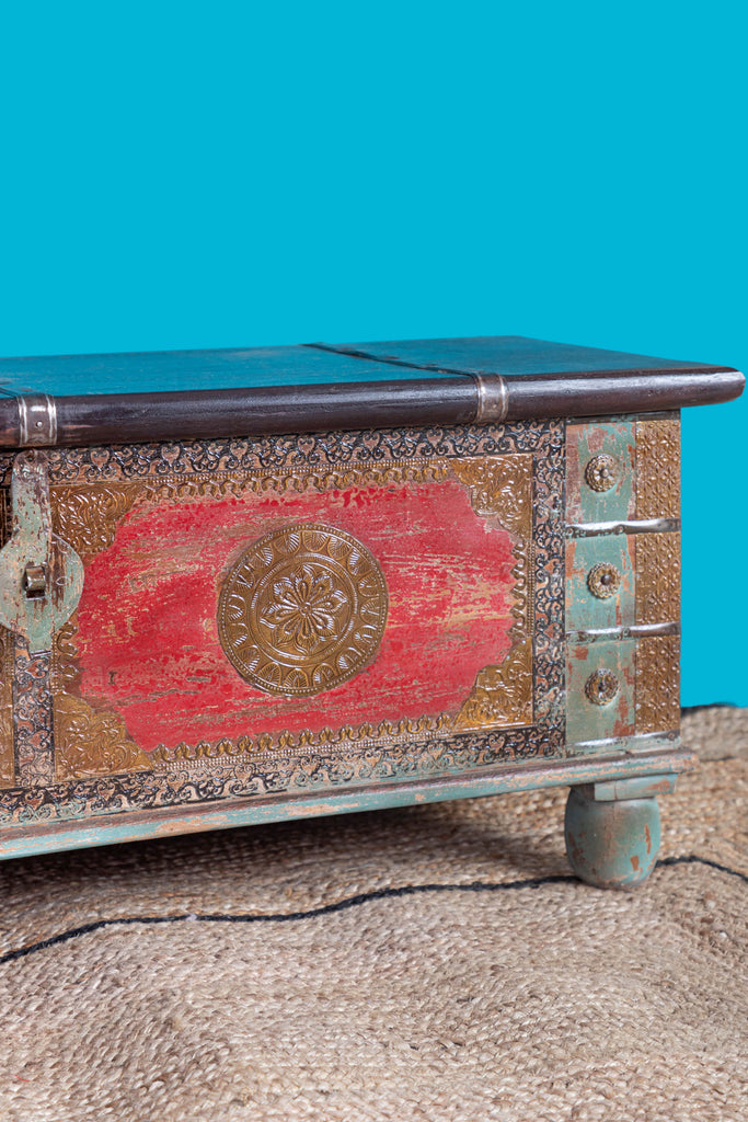 Reclaimed Wooden Trunk with Brass Trim - 106