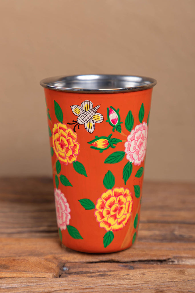 Hand Painted Red Floral Stainless Steel Tumbler