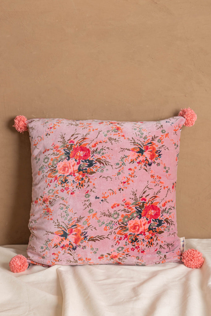 Baby Pink Floral Cotton Velvet Printed Cushion Cover