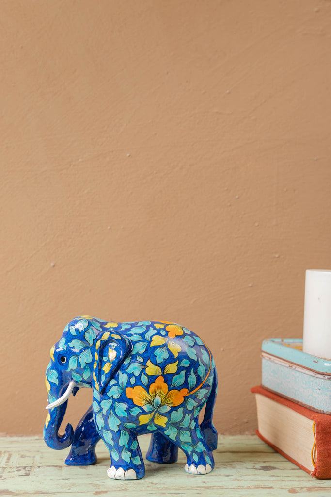 Blue Wooden Elephant with Blue Pottery Work