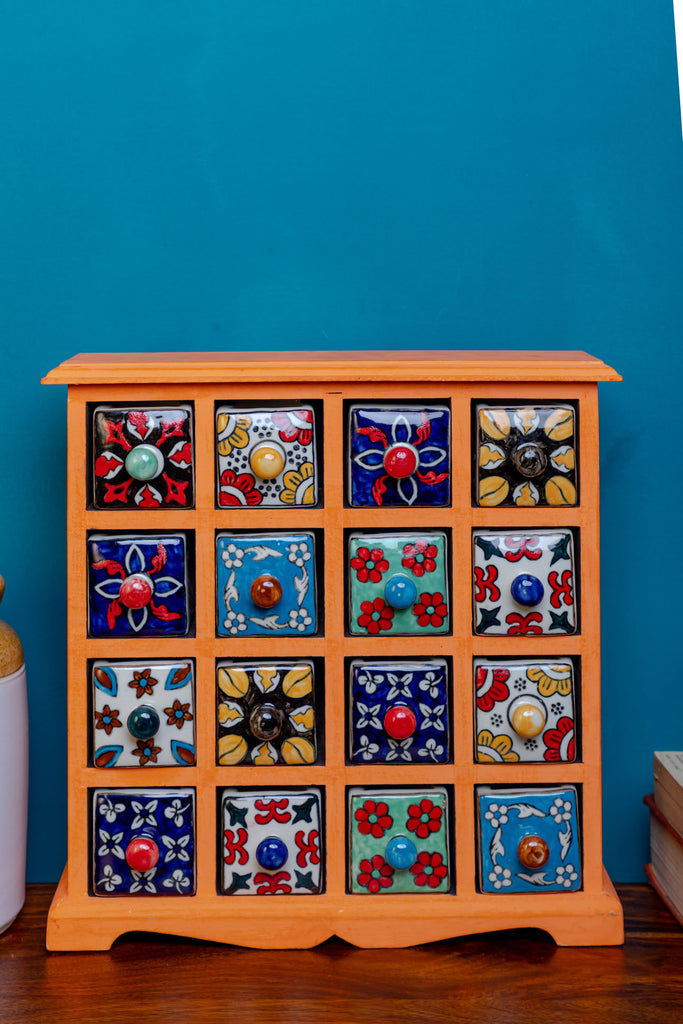 Orange Wooden Chest with 16 Ceramic Drawers