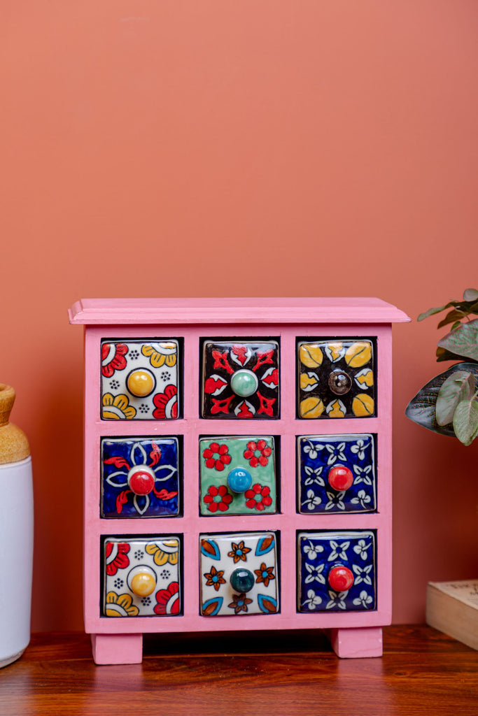 Baby Pink Wooden Chest with 9 Ceramic Drawers