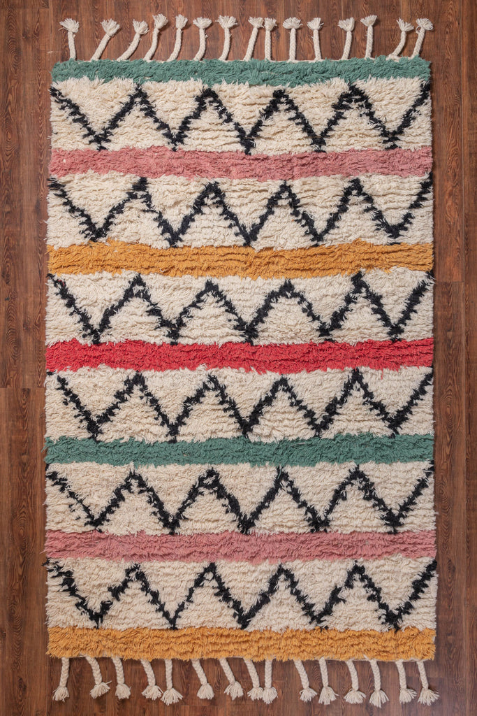 Zig-Zag with Multi Color Stripe Wool & Cotton Rug