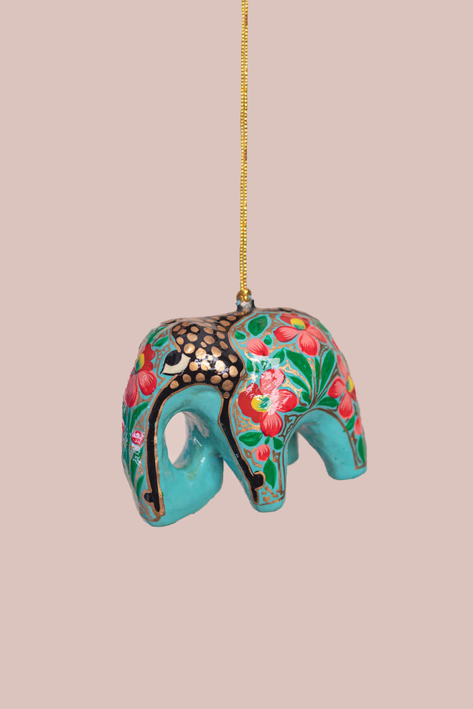 Sea Green Floral Hanging Elephant