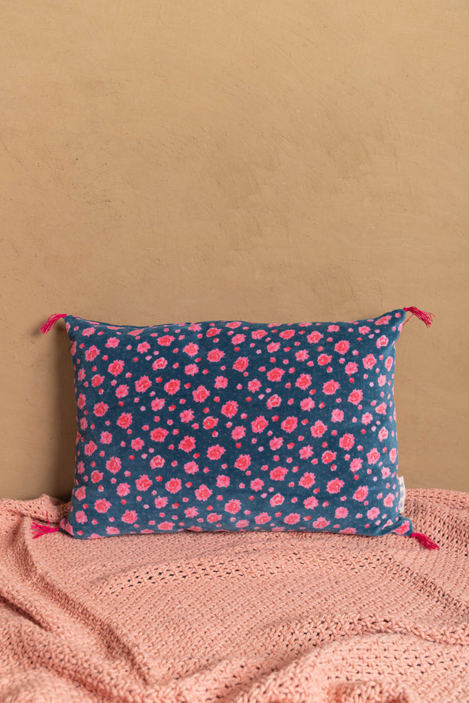 Indigo Mini Flower Cotton Velvet Printed Cushion Cover
