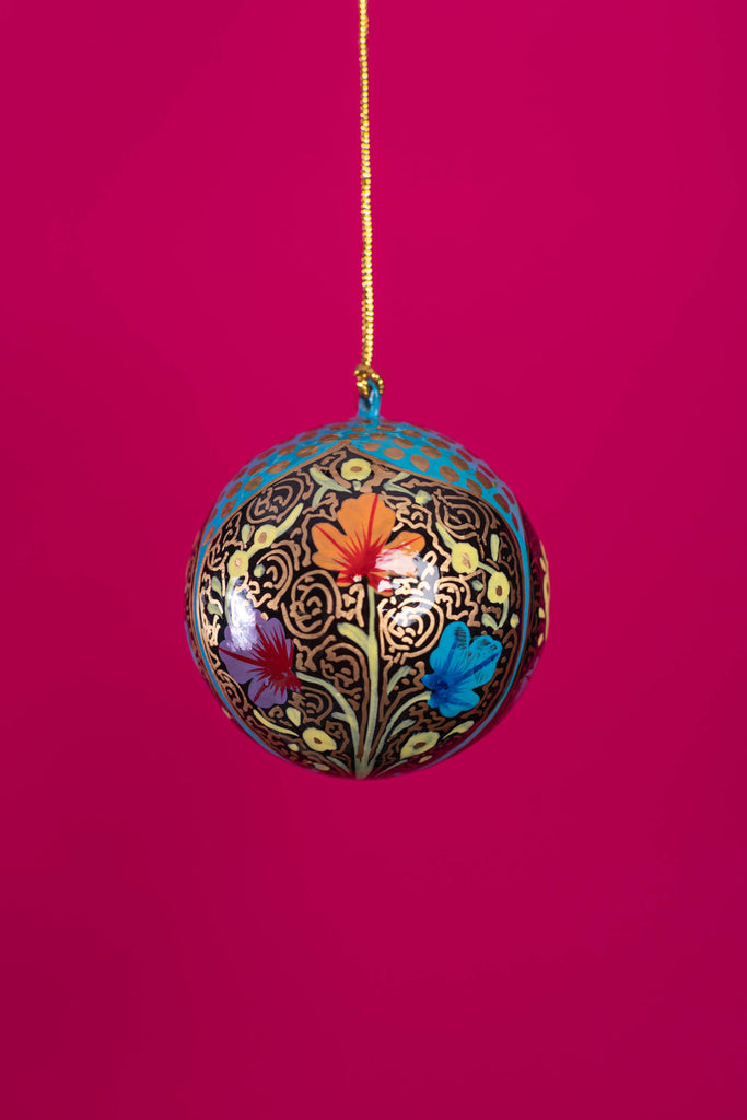 Blue Floral Arched Christmas Bauble