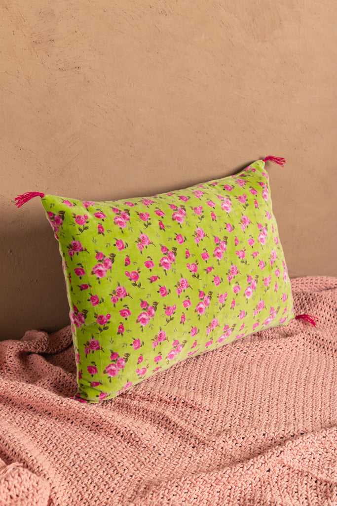 Lime Mini Flower Cotton Velvet Printed Cushion Cover