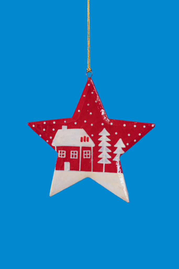 Red Christmas Hanging Star with Hut & Trees