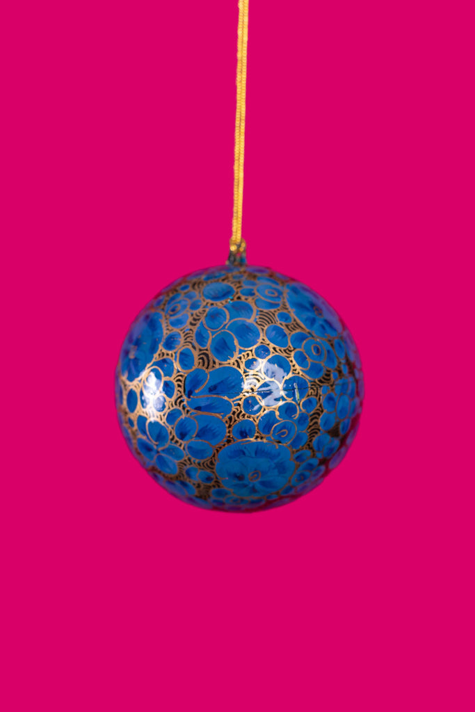 Blue & Gold Floral Christmas Bauble
