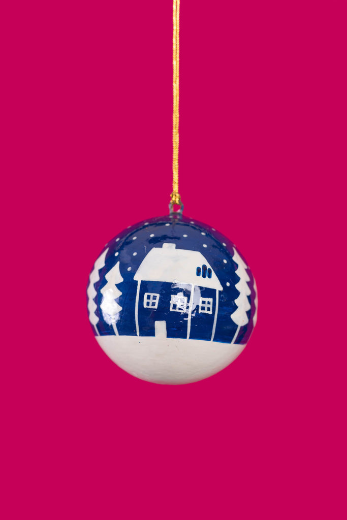 Blue Christmas Hut & Tree Bauble