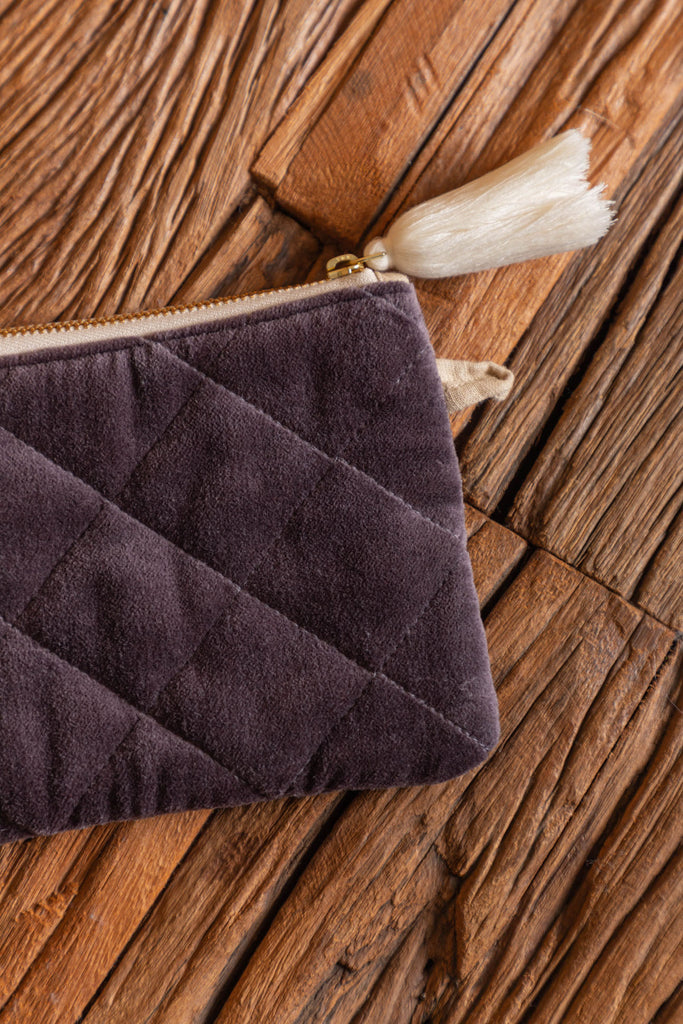 Dark Grey Quilted Cotton Velvet Jimmy Clutch