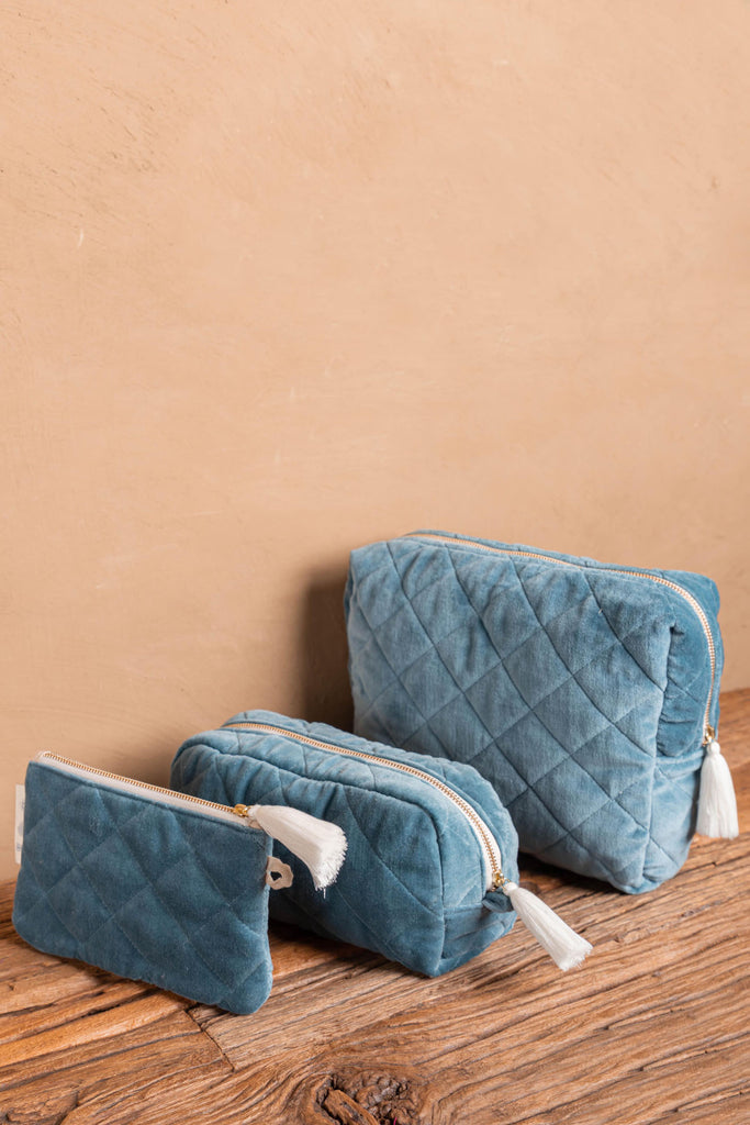 Smoke Blue Quilted Cotton Velvet Carry Clutch