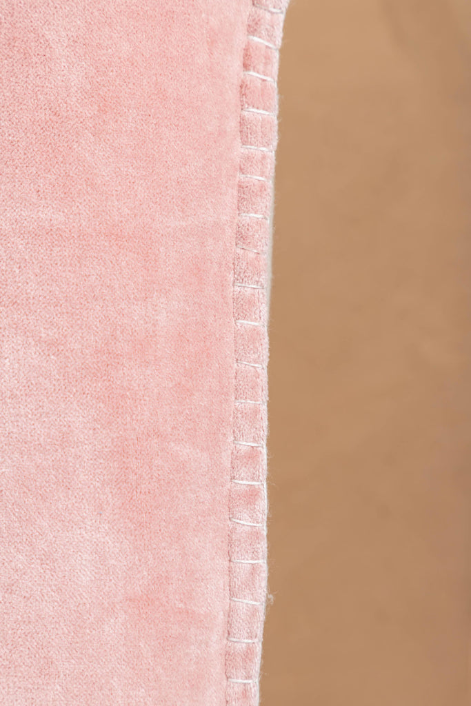 Pink Cotton Velvet Cushion Cover with Feston Stitch