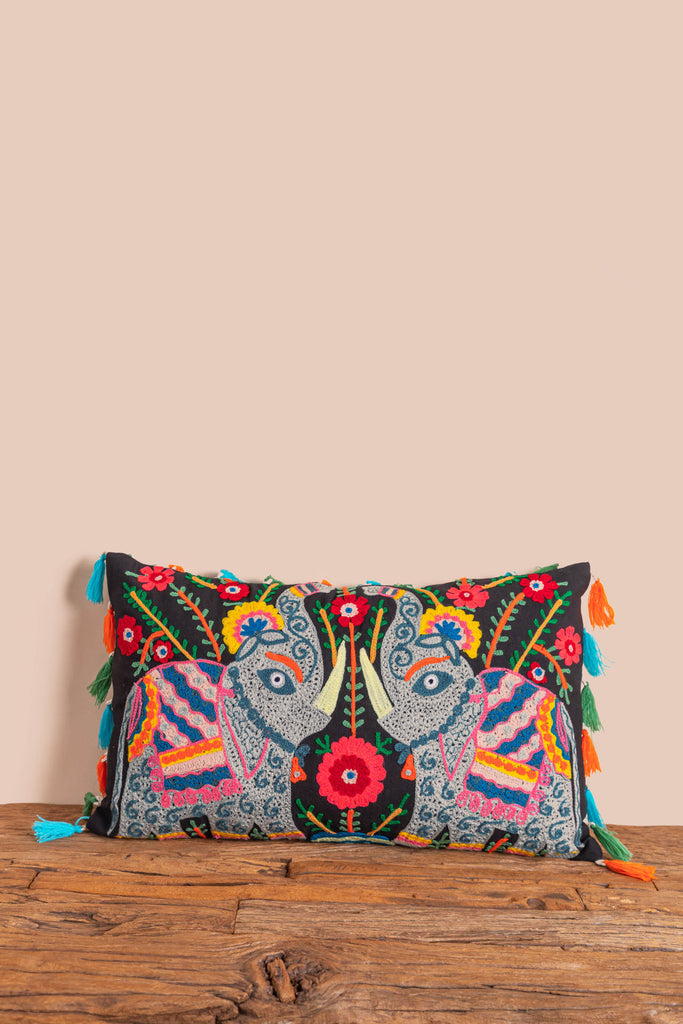 Black Trunk-Up Elephant Embroidered Cushion Cover