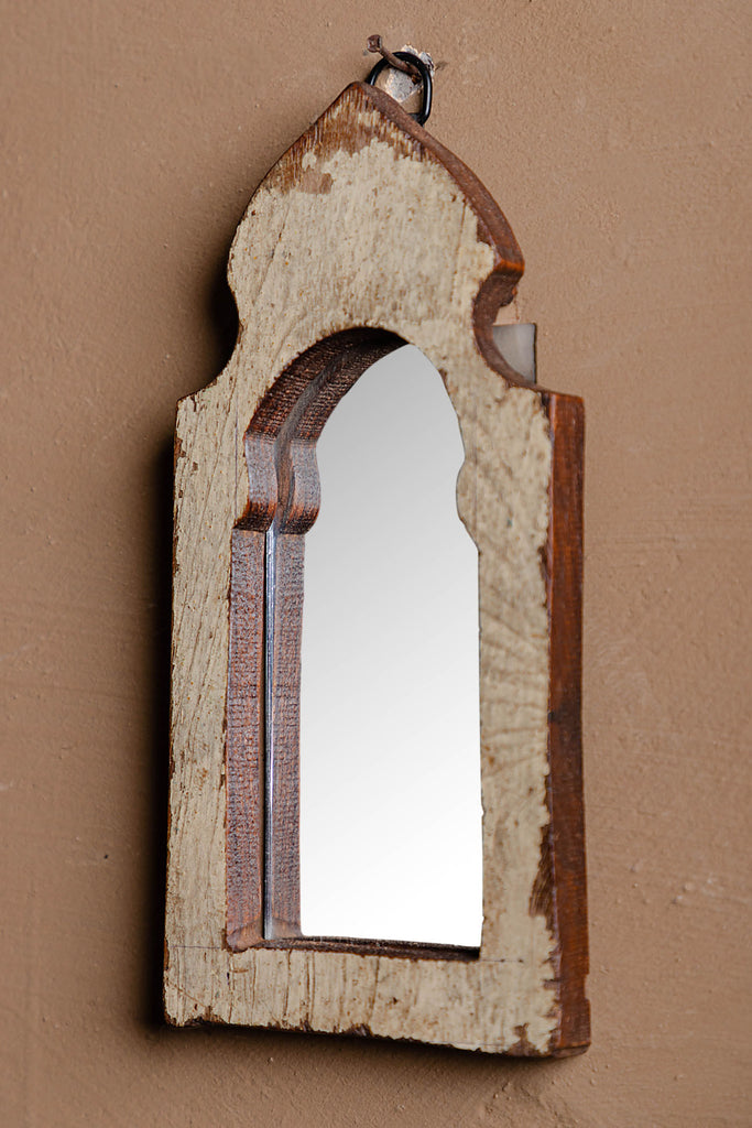 Vintage Arched Wooden Mirror - 105