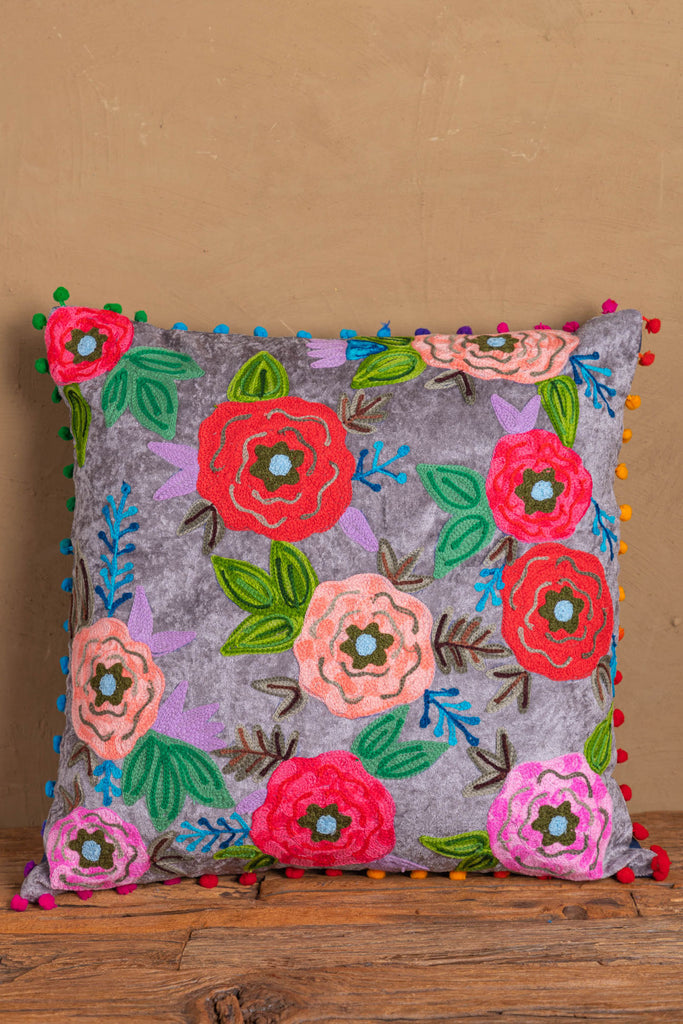 Grey Floral Embroidered Cotton Velvet Cushion Cover