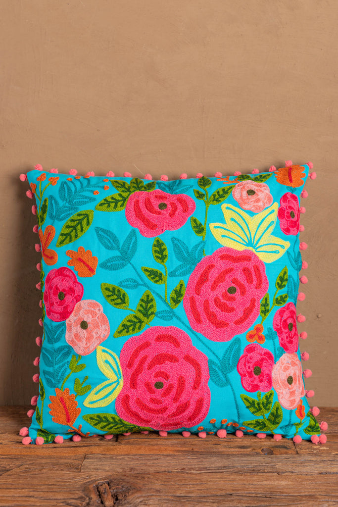 Turquoise Floral Embroidered Cotton Cushion Cover