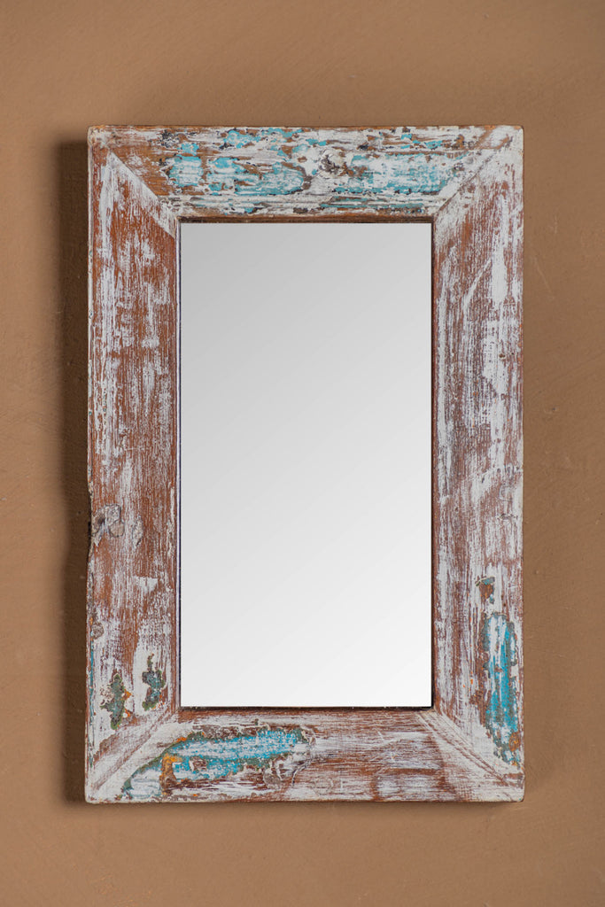 Vintage White Rectangular Mirror - 101
