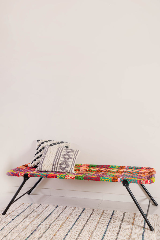 Multicolour Day Bed with Recycled Cotton Hand Strapping