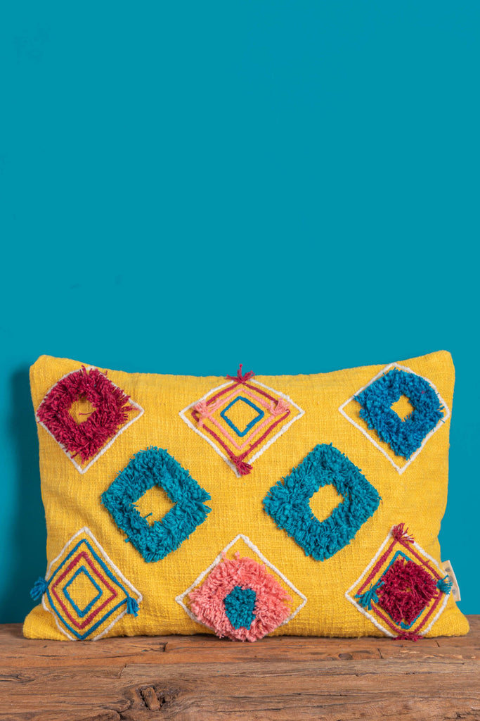 Mustard Handmade Cotton Cushion Cover