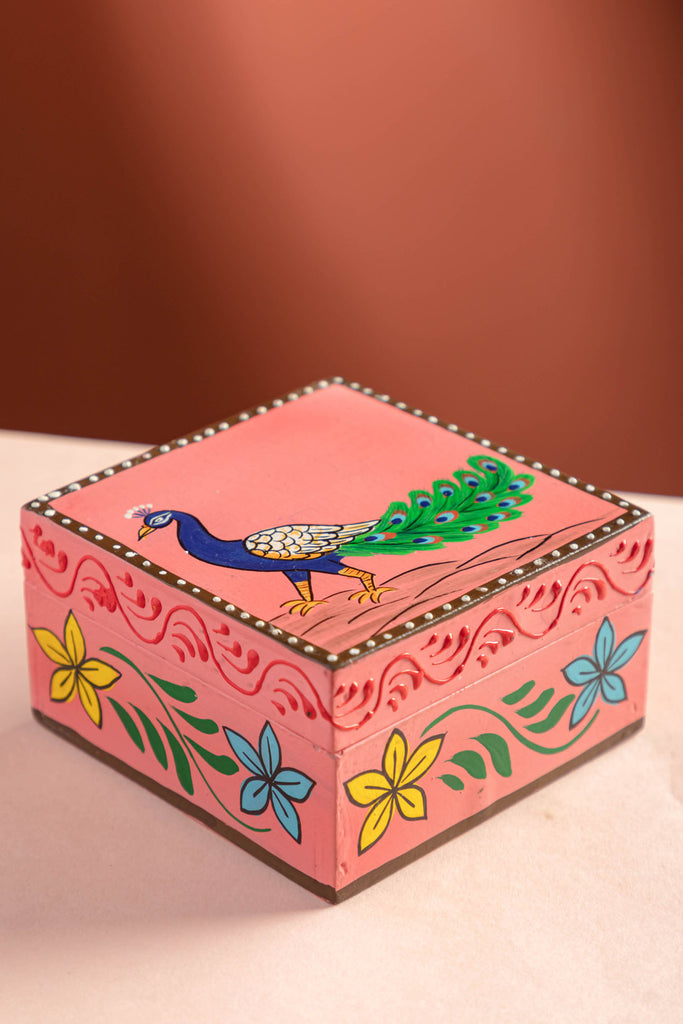 Peacock Hand Painted Box