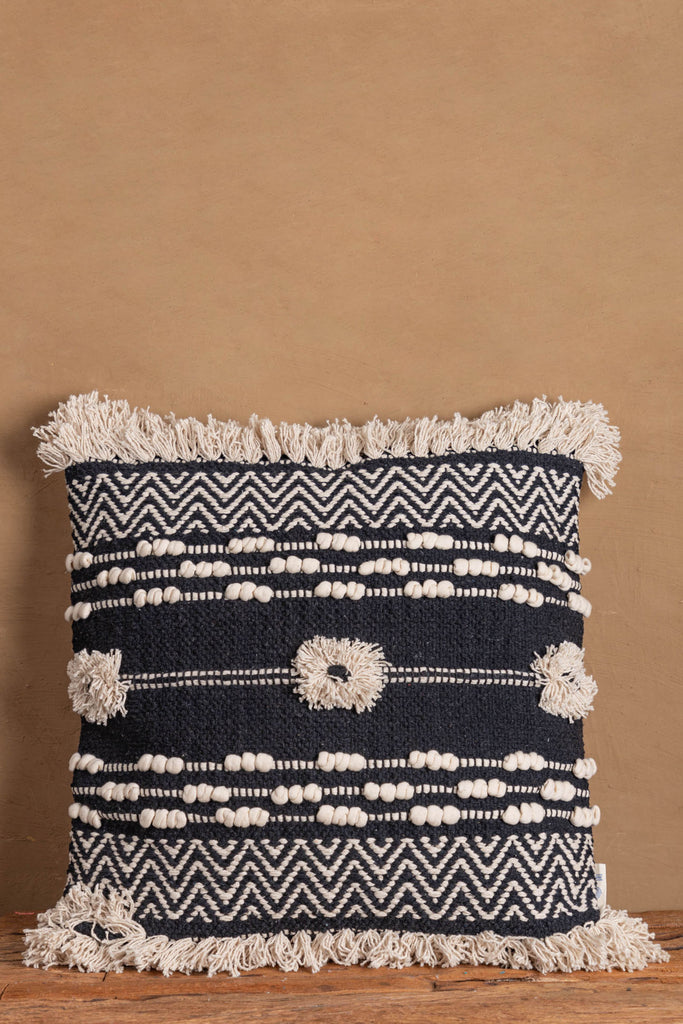 Black & White Cotton Shaggy Cushion Cover