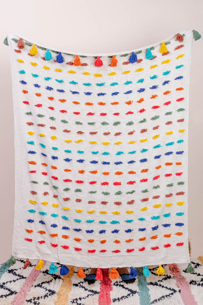 Handwoven Multi Coloured Cotton Pom Pom Throw