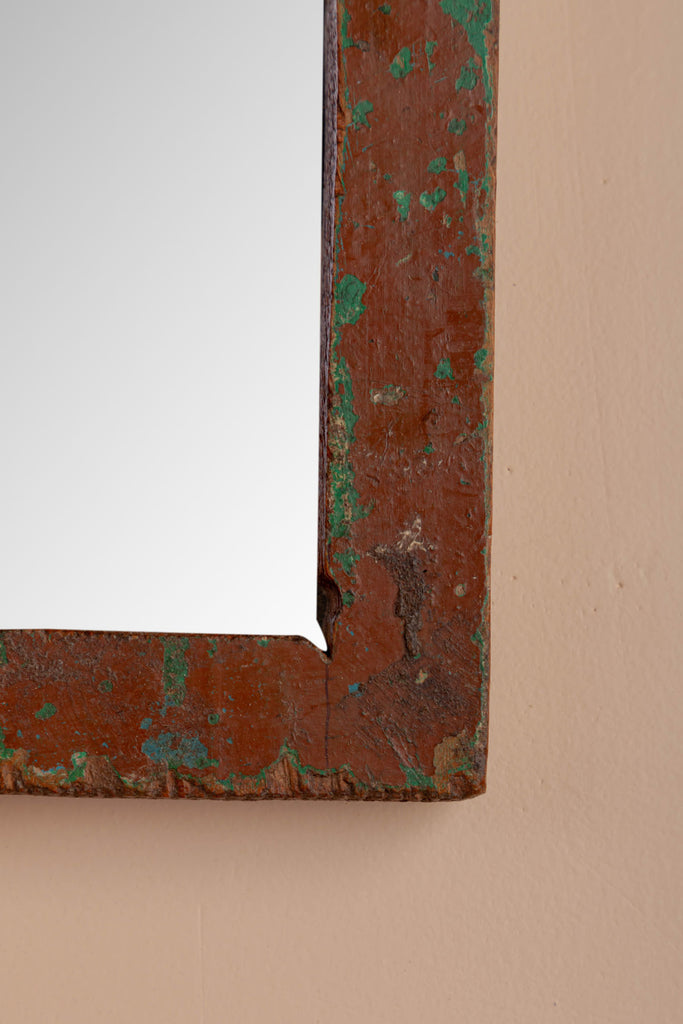 Vintage Arched Wooden Mirror - 129