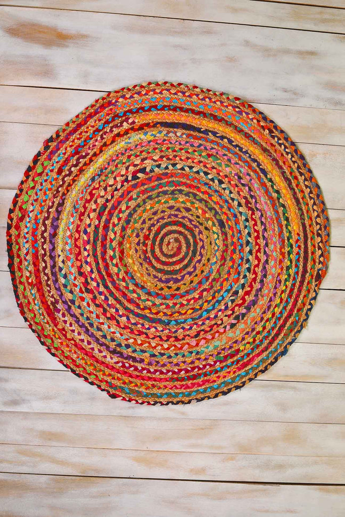 Multi Colour Recycled Cotton Round Braided Rug
