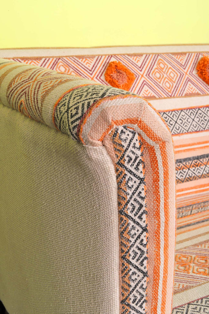Block Print with Tuffs & Embroidery Three Seater Sofa