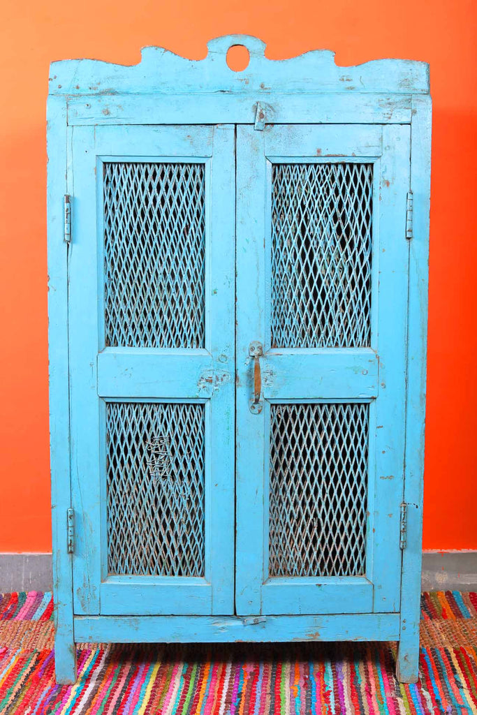 Vinatge Blue Two Door Cabinet with Grills