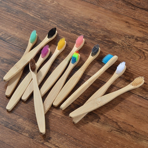 10 KIds Bamboo toothbrushes pack - Biodegradable