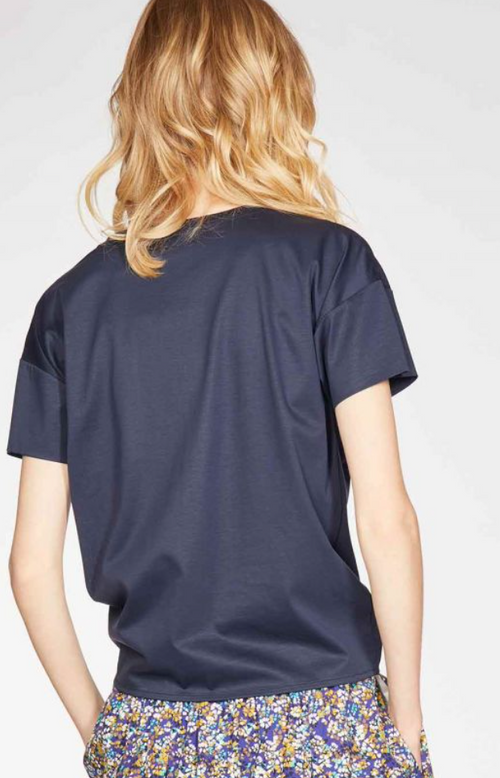 Thought Stephanie Tie Front Tencel Organic Cotton T-Shirt Navy