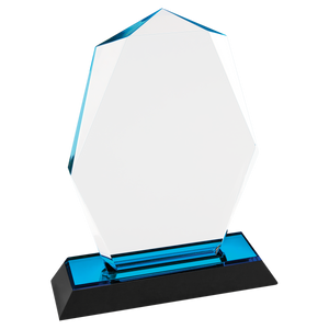 "7"" Blue Octagon Point Impress Acrylic Award"