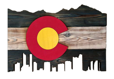 Wooden State/Country Flag With Skyline