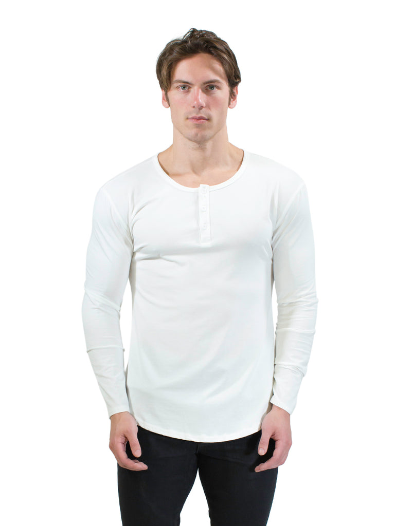 Long Sleeved Henley (Classic White)