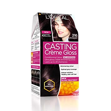 L'Oreal Paris Casting Creme Gloss Hair Color, Burgundy 316, 87.5g+72ml
