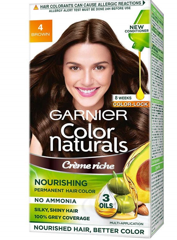 Garnier Color Naturals Crème hair color, Shade 4 Brown, 70ml + 60g