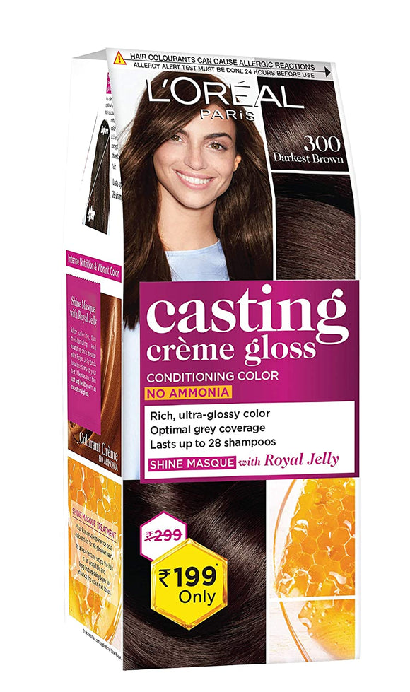 L'Oreal Paris Casting Crème Gloss Small Pack, 300 Darkest Brown
