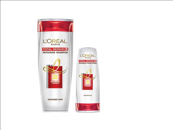Loreal Paris Total Repair 5 Shampoo 192.5ml With Free Loreal Paris Total Repair 5 Conditioner 71.5ml