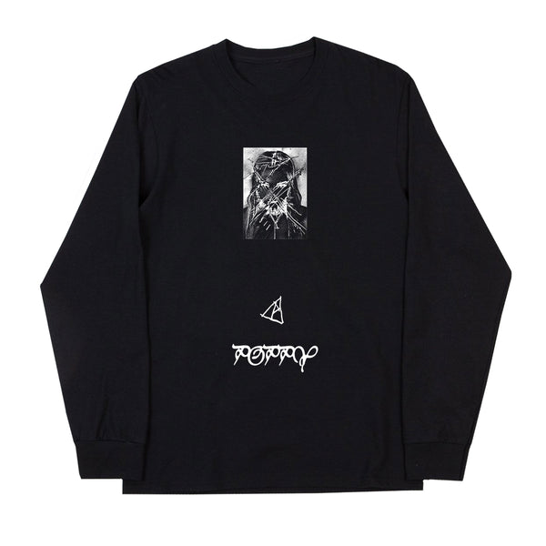NEGATIVE FACE L/S BLACK T-SHIRT