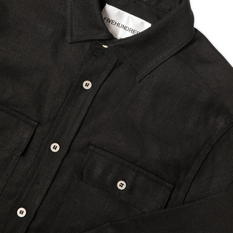 Close-up view of Fivehundred BC men's hemp over shirt in black