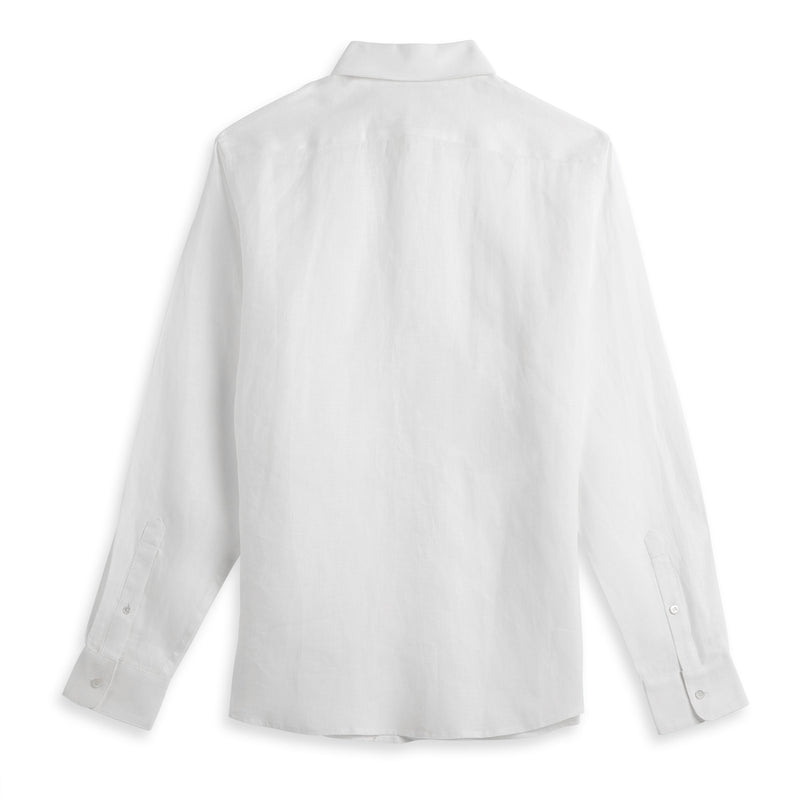 Back view of Fivehundred BC men's hemp shirt in white