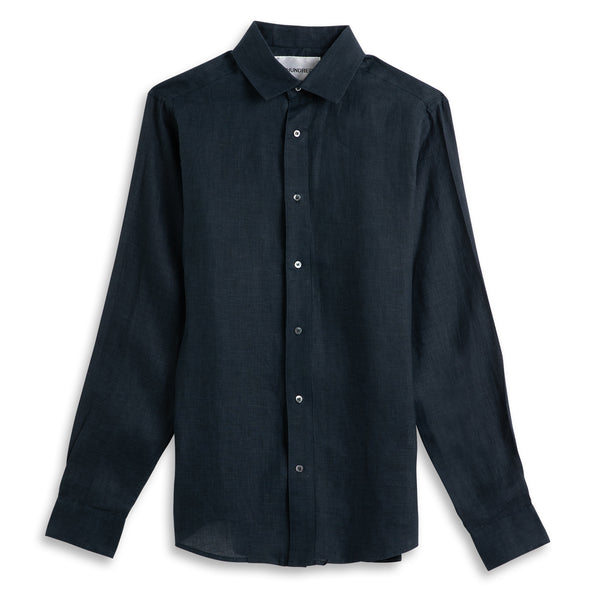 Front view of Fivehundred BC men's hemp shirt in navy