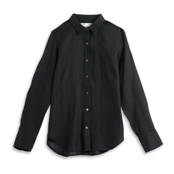 Front view of Fivehundred BC women's hemp shirt in black
