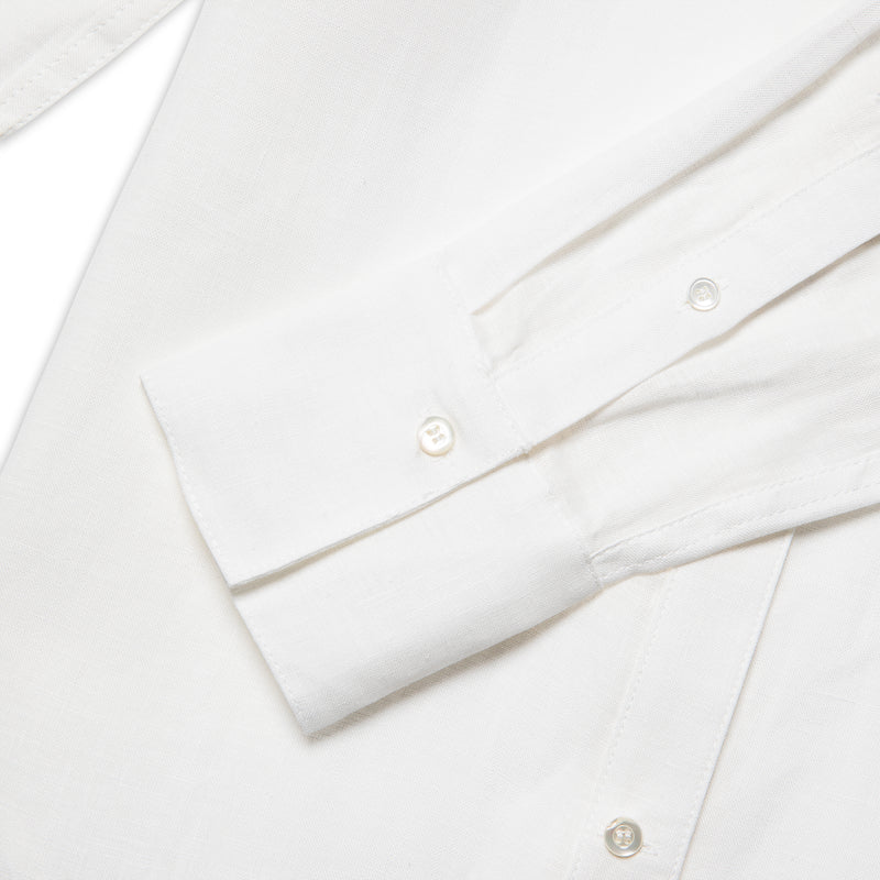 Close-up view of Fivehundred BC women's hemp shirt in white
