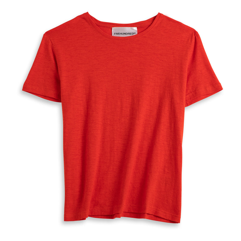 Front view of Fivehundred BC women's hemp t-shirt in red